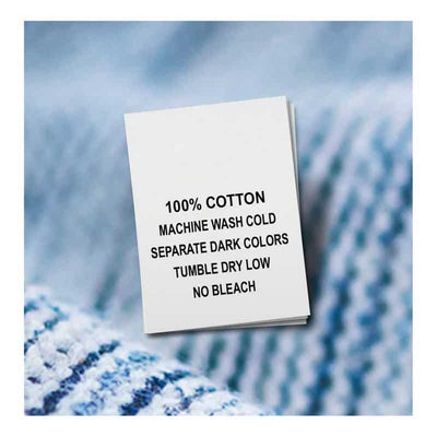 Cotton, Machine Wash Cold, Separate Dark Colors, Tumble Dry Low, No Bleach (Qty. 100)