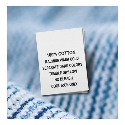 100% Cotton, Machine Wash Cold, Separate Dark Colors, Tumble Dry Low, No Bleach, Cool Iron