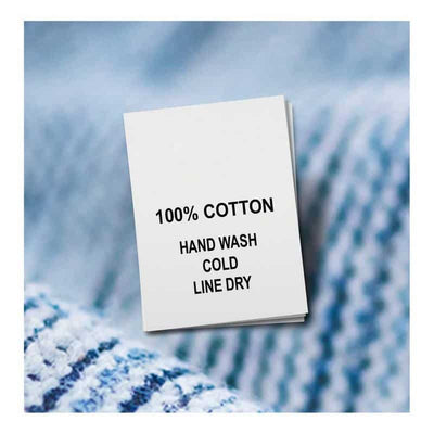 Cotton, Hand Wash Cold, Line Dry