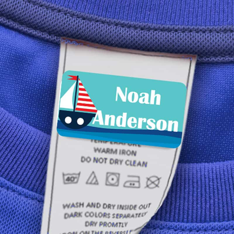 Great 60 Washable Stick on Clothing Name Labels No-Iron Stickers School Children