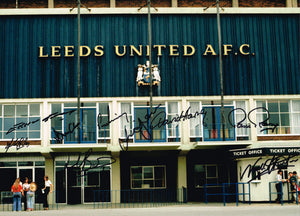 Elland Road 1972 FA Cup multi hand signed autographed photo Leeds United