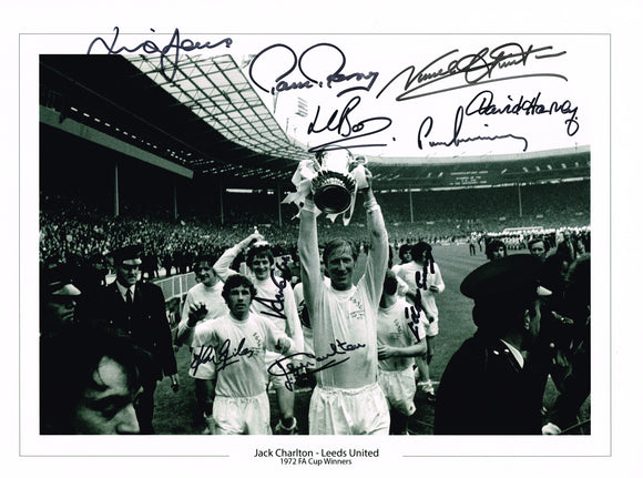 Trophy Lift 1972 FA Cup multi hand signed autographed photo Leeds United
