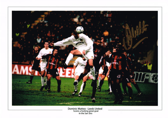 Large Dominic Matteo San Siro goal hand signed autographed photo Leeds United