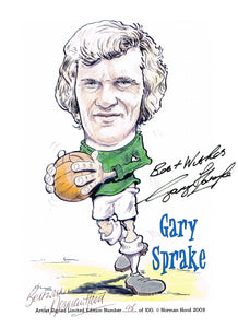 Gary Sprake hand signed autographed caricature photo Leeds United