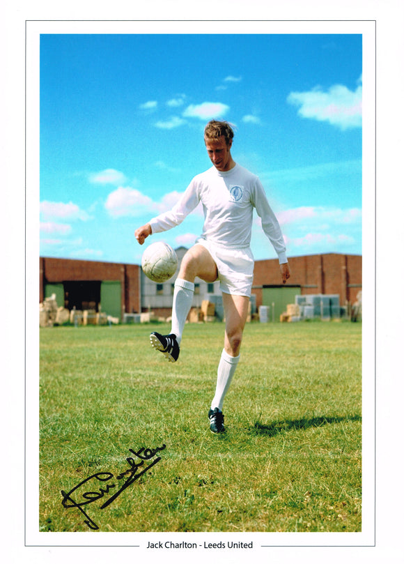 Jack Charlton hand signed autographed photo Leeds United
