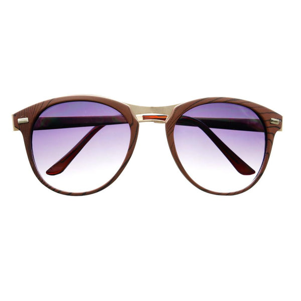 Fashion Designer Style Wood Like Round Sunglasses R2180 - FREYRS - Beautifully designed, cheap sunglasses for men & women  - 2