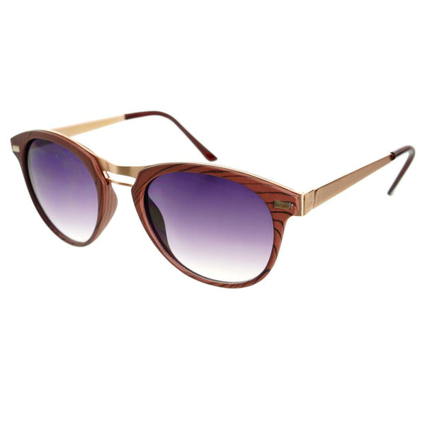 Fashion Designer Style Wood Like Round Sunglasses R2180 - FREYRS - Beautifully designed, cheap sunglasses for men & women  - 3