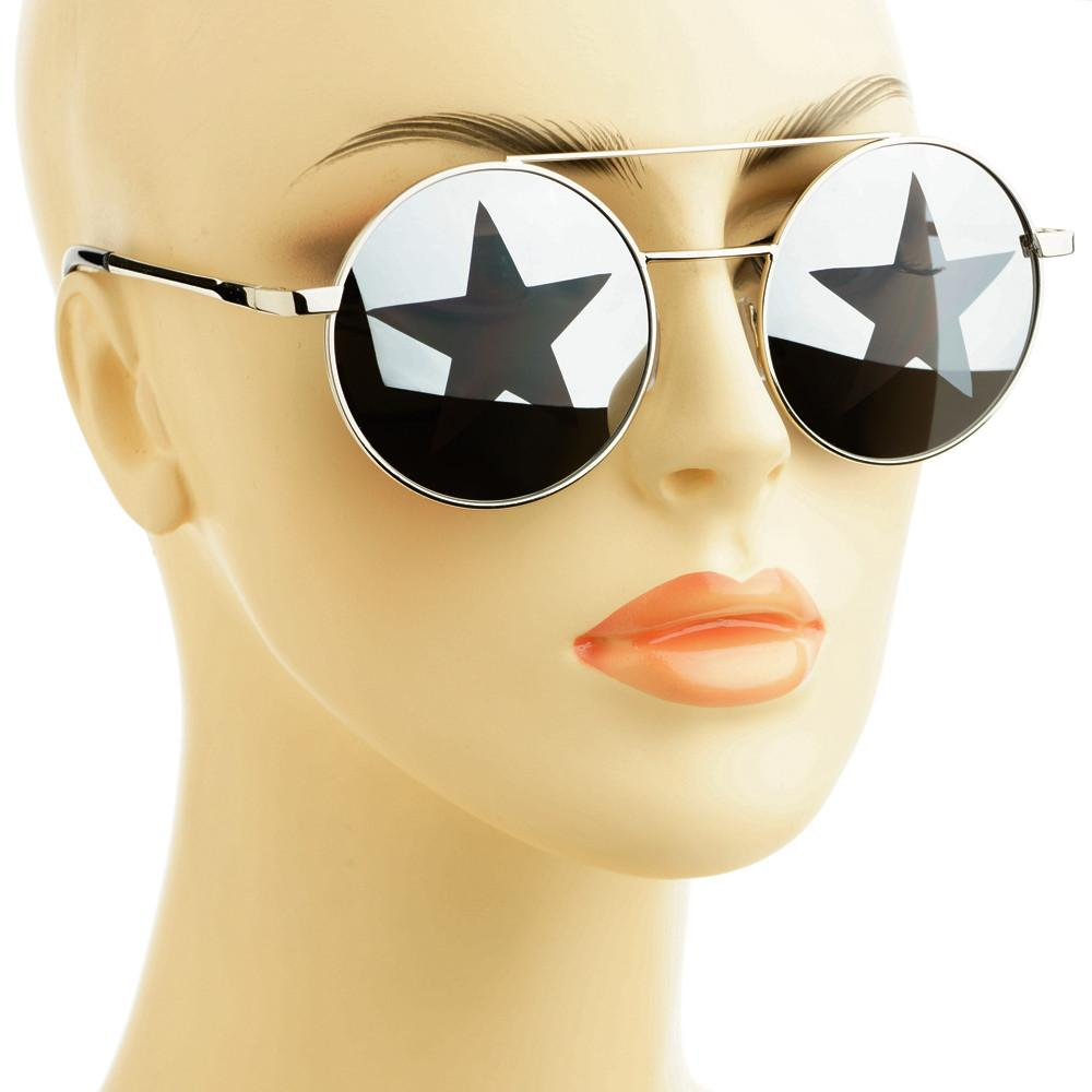 Star Mirror Lens Metal Top Bar Unisex Round Sunglasses R3050 - FREYRS - Beautifully designed, cheap sunglasses for men & women  - 6