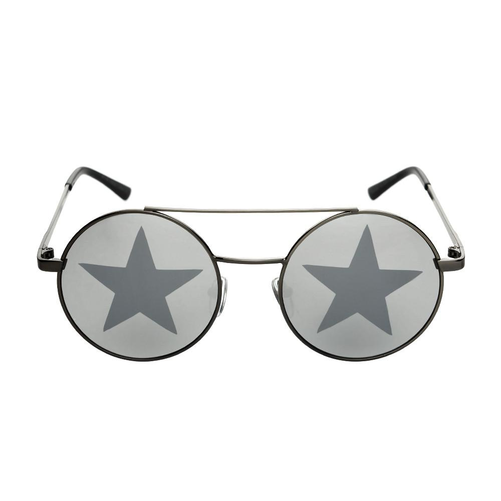 Star Mirror Lens Metal Top Bar Unisex Round Sunglasses R3050 - FREYRS - Beautifully designed, cheap sunglasses for men & women  - 1