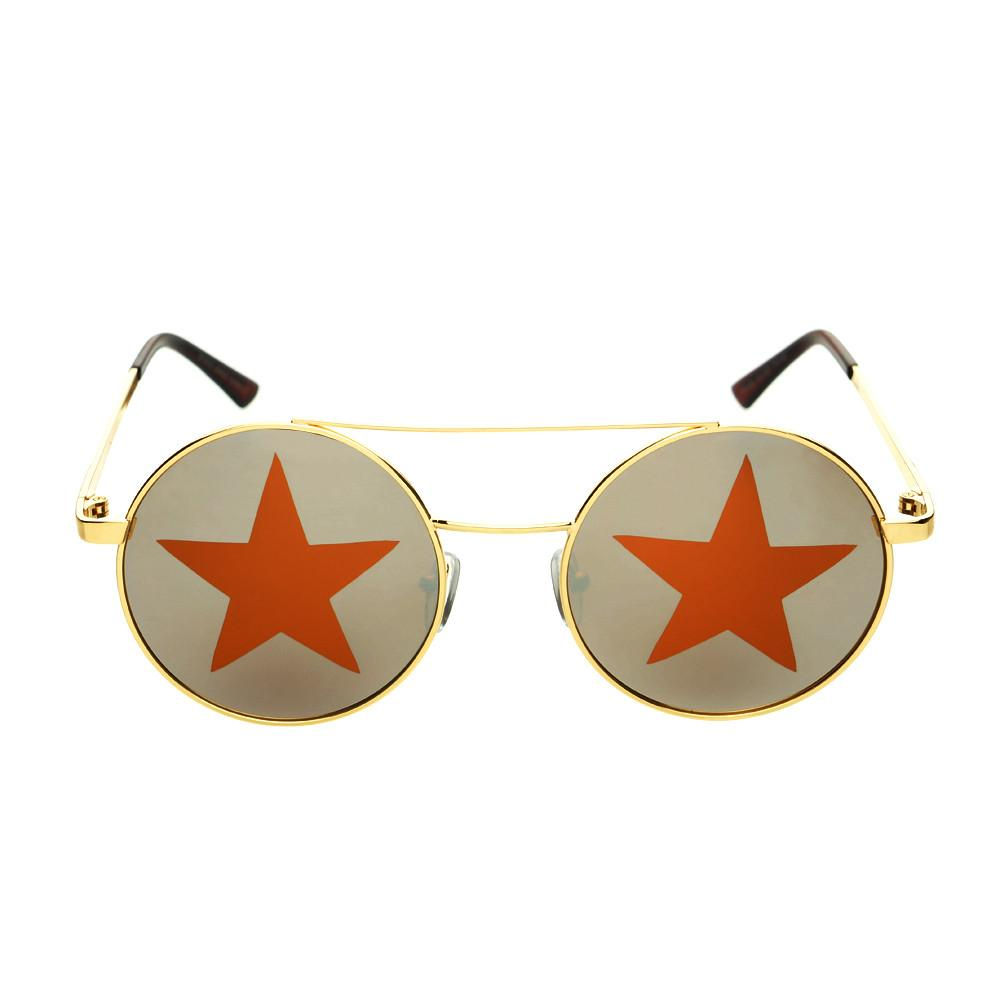 Star Mirror Lens Metal Top Bar Unisex Round Sunglasses R3050 - FREYRS - Beautifully designed, cheap sunglasses for men & women  - 5