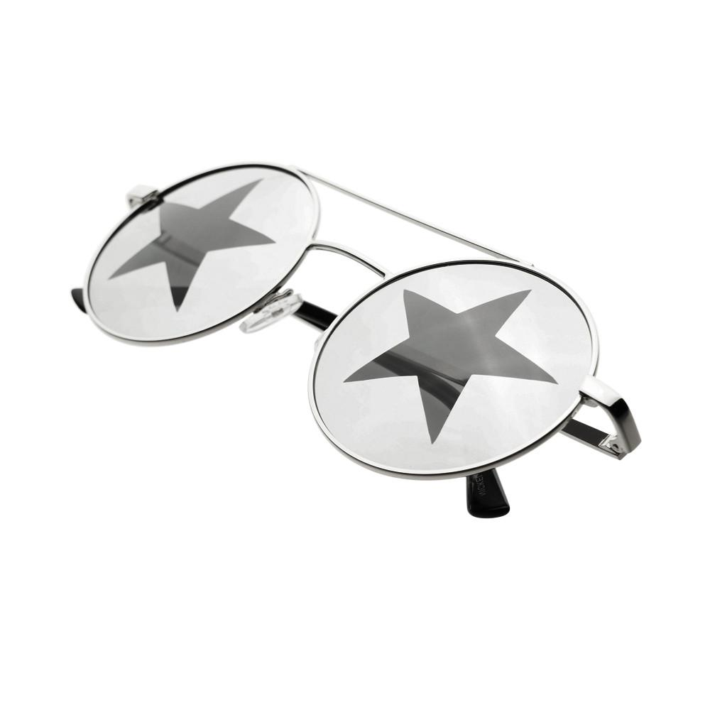 Star Mirror Lens Metal Top Bar Unisex Round Sunglasses R3050 - FREYRS - Beautifully designed, cheap sunglasses for men & women  - 3