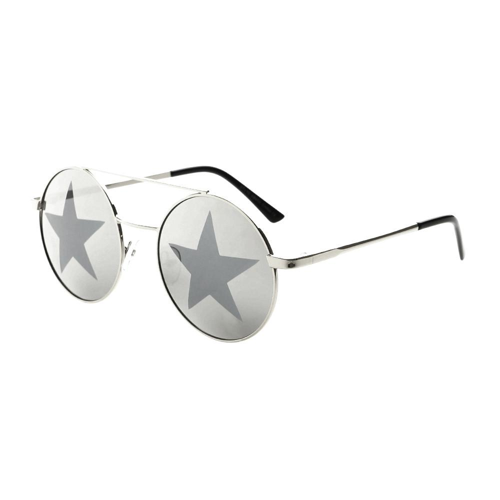 Star Mirror Lens Metal Top Bar Unisex Round Sunglasses R3050 - FREYRS - Beautifully designed, cheap sunglasses for men & women  - 4