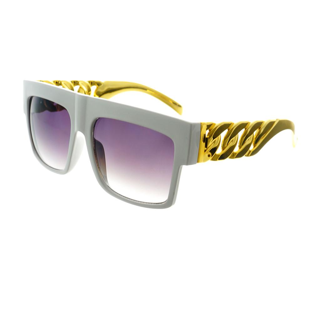 Gold Bling Celebrity Fashion Style Large Square Flat Top Sunglasses FT73 - FREYRS - Beautifully designed, cheap sunglasses for men & women  - 7