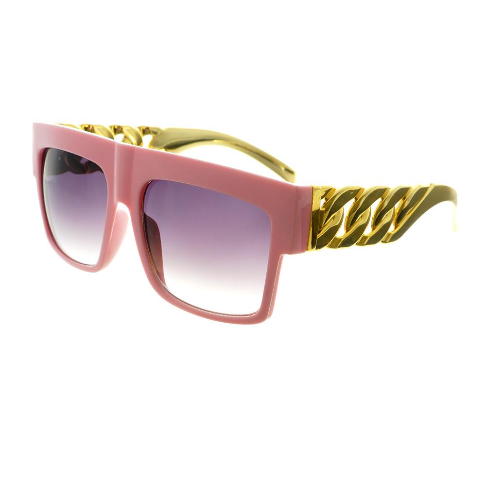 Gold Bling Celebrity Fashion Style Large Square Flat Top Sunglasses FT73 - FREYRS - Beautifully designed, cheap sunglasses for men & women  - 5