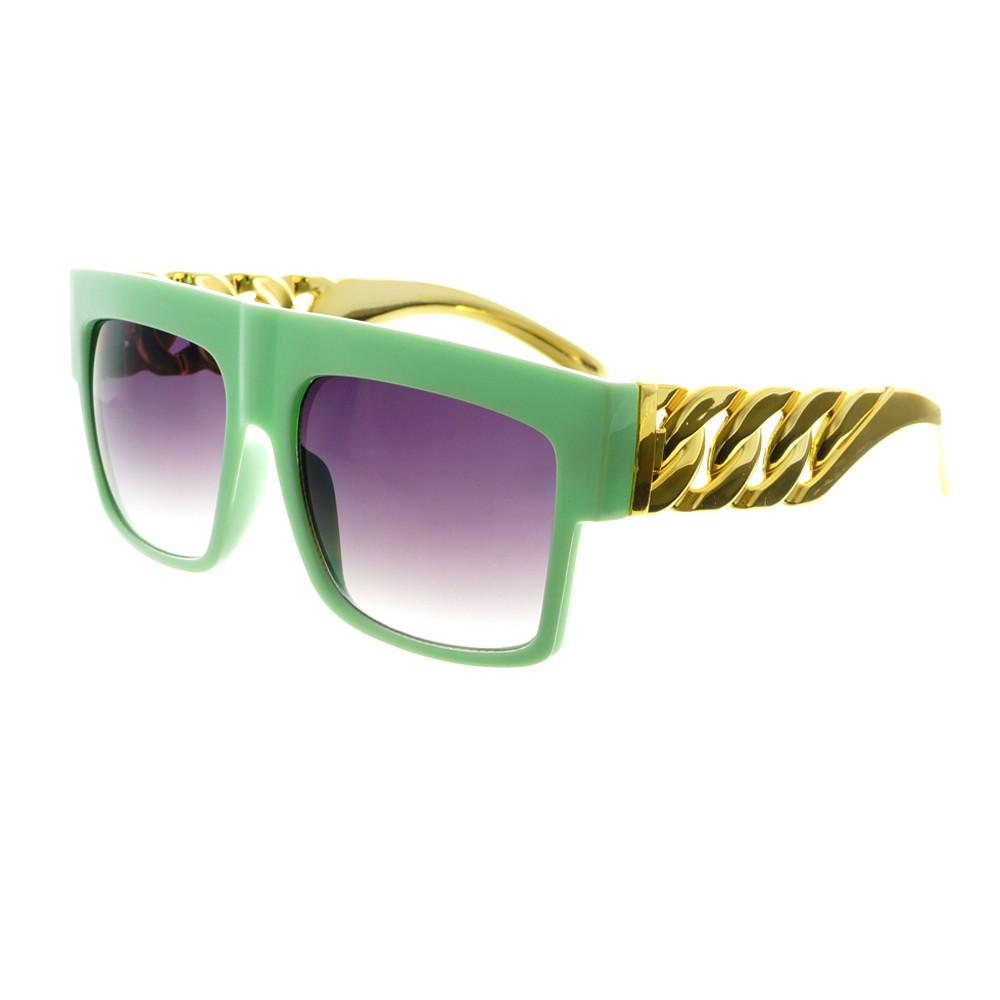 Gold Bling Celebrity Fashion Style Large Square Flat Top Sunglasses FT73 - FREYRS - Beautifully designed, cheap sunglasses for men & women  - 6