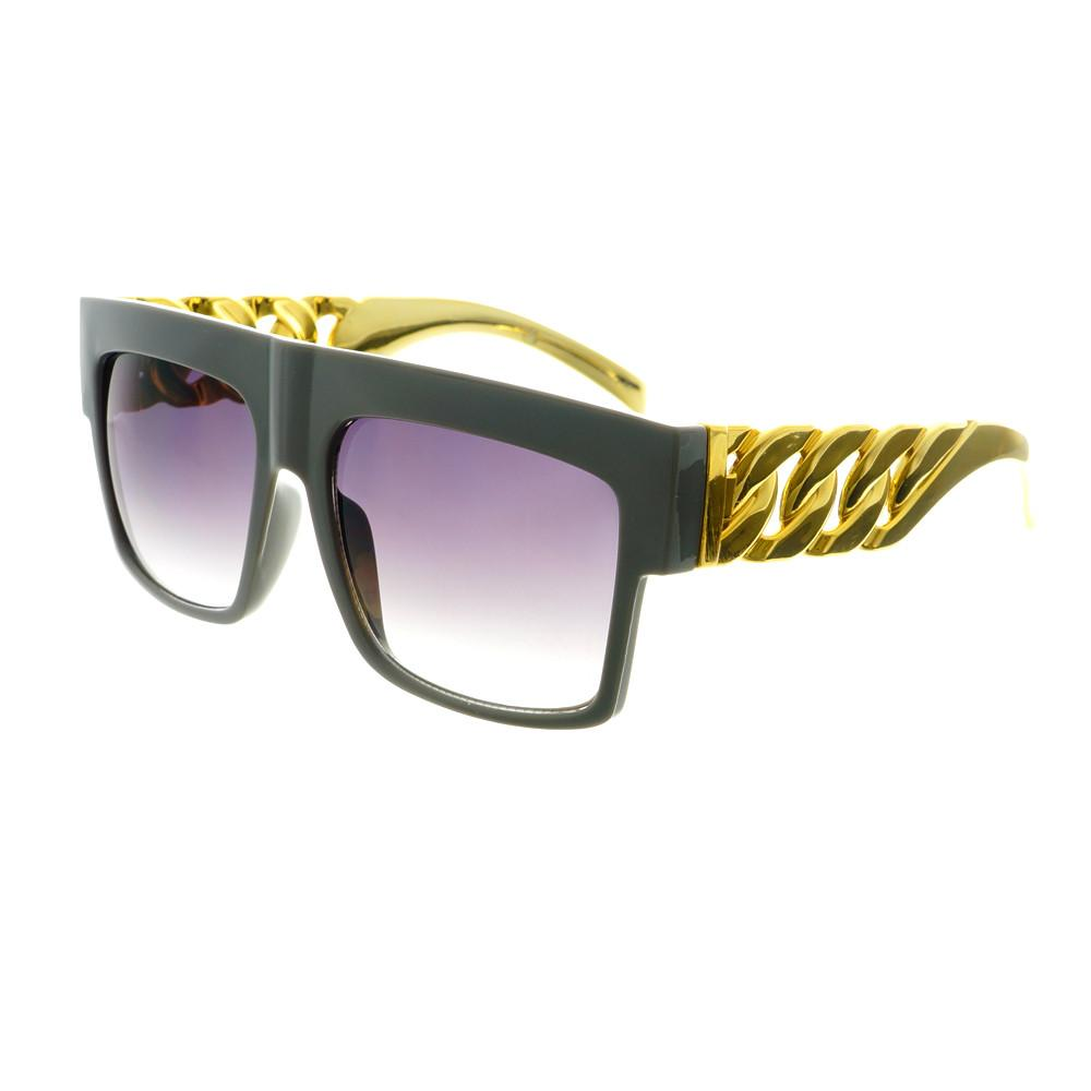 Gold Bling Celebrity Fashion Style Large Square Flat Top Sunglasses FT73 - FREYRS - Beautifully designed, cheap sunglasses for men & women  - 4