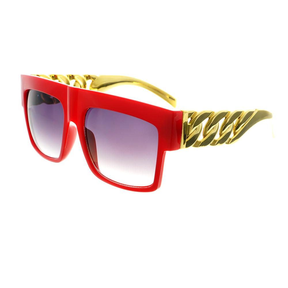Gold Bling Celebrity Fashion Style Large Square Flat Top Sunglasses FT73 - FREYRS - Beautifully designed, cheap sunglasses for men & women  - 3