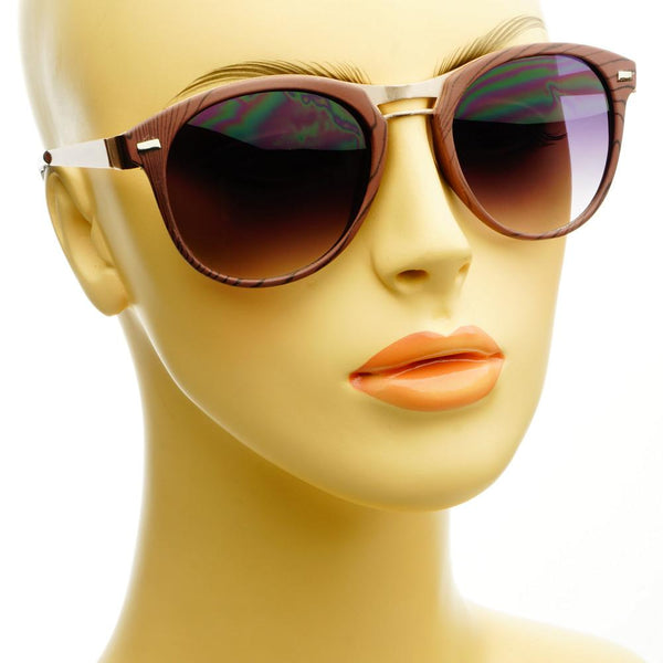 Fashion Designer Style Wood Like Round Sunglasses R2180 - FREYRS - Beautifully designed, cheap sunglasses for men & women  - 4