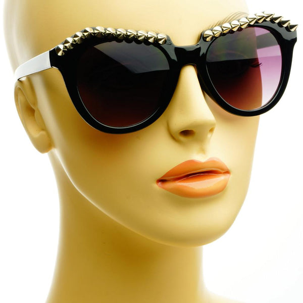 Metal Spikes Studs Punk Gothic Style Round Sunglasses R1100 - FREYRS - Beautifully designed, cheap sunglasses for men & women  - 5