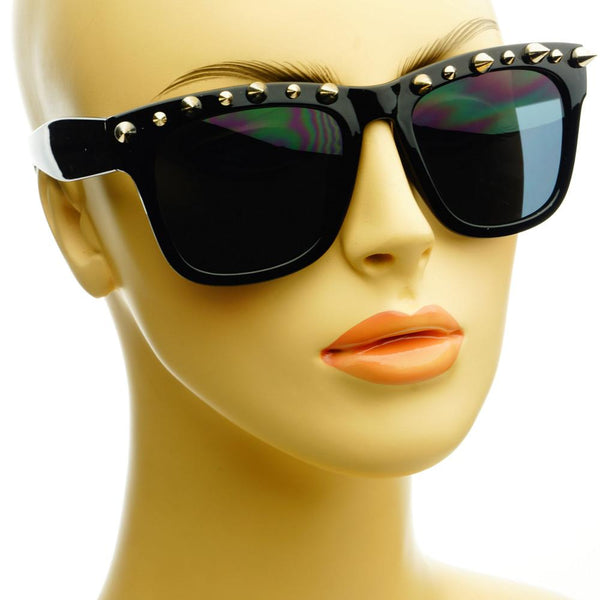 Gothic Style Metal Spikes Cool Punk Large Square Sunglasses W57 - FREYRS - Beautifully designed, cheap sunglasses for men & women  - 7
