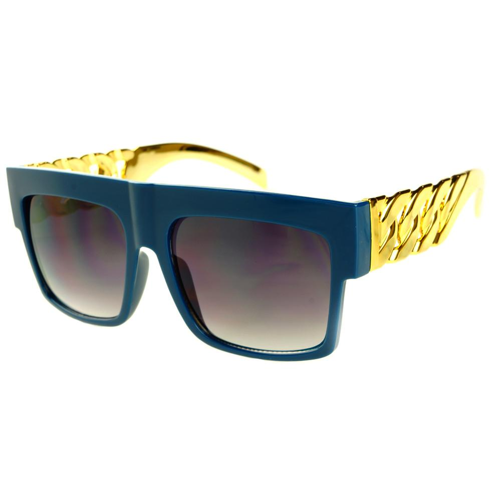 Gold Bling Celebrity Fashion Style Large Square Flat Top Sunglasses FT73 - FREYRS - Beautifully designed, cheap sunglasses for men & women  - 8