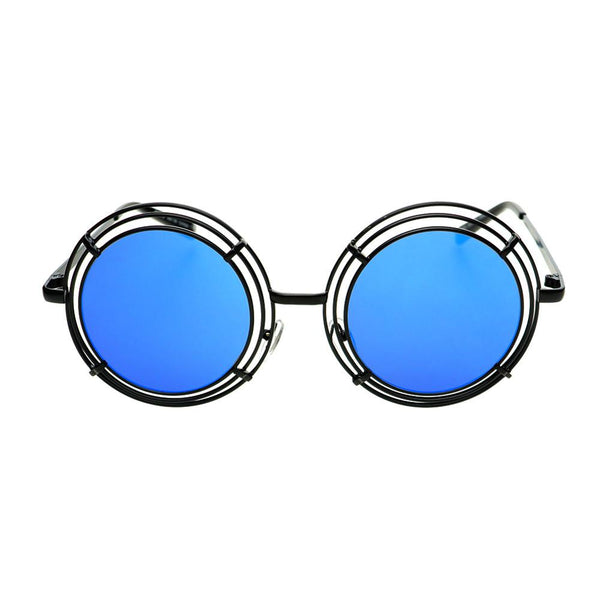 Unique Funky Mirror Lens Large Metal Circle Round Sunglasses R2970 - FREYRS - Beautifully designed, cheap sunglasses for men & women  - 3