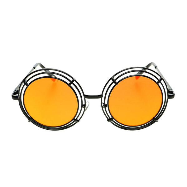 Unique Funky Mirror Lens Large Metal Circle Round Sunglasses R2970 - FREYRS - Beautifully designed, cheap sunglasses for men & women  - 2