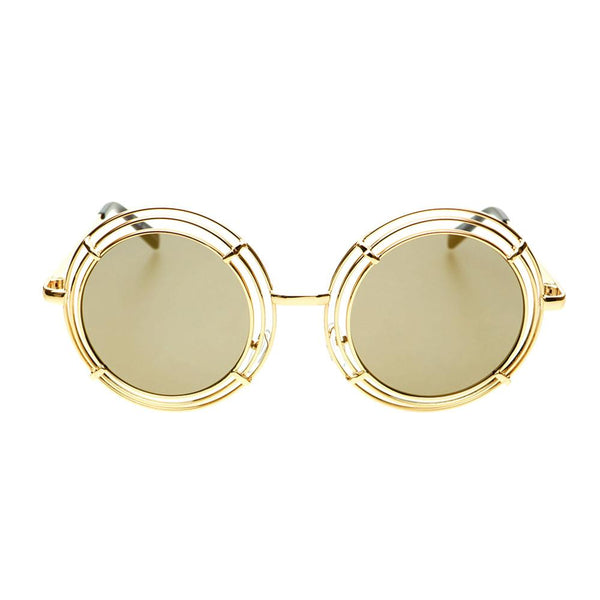 Unique Funky Mirror Lens Large Metal Circle Round Sunglasses R2970 - FREYRS - Beautifully designed, cheap sunglasses for men & women  - 8