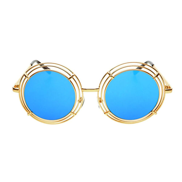 Unique Funky Mirror Lens Large Metal Circle Round Sunglasses R2970 - FREYRS - Beautifully designed, cheap sunglasses for men & women  - 4