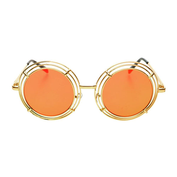 Unique Funky Mirror Lens Large Metal Circle Round Sunglasses R2970 - FREYRS - Beautifully designed, cheap sunglasses for men & women  - 7