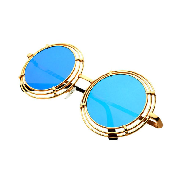 Unique Funky Mirror Lens Large Metal Circle Round Sunglasses R2970 - FREYRS - Beautifully designed, cheap sunglasses for men & women  - 5