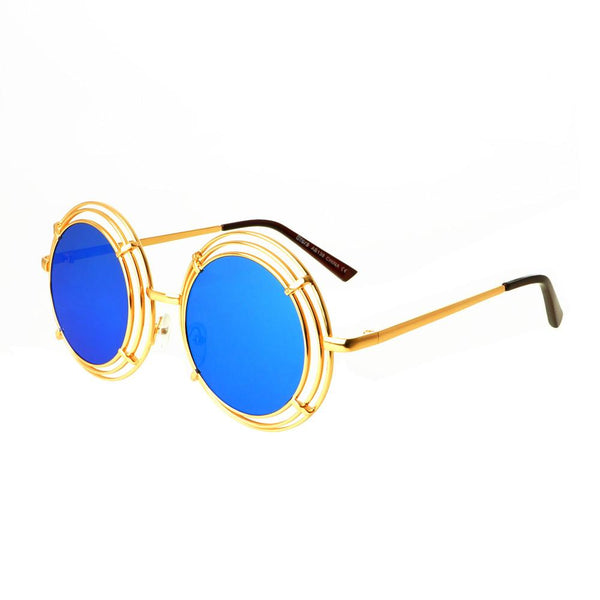 Unique Funky Mirror Lens Large Metal Circle Round Sunglasses R2970 - FREYRS - Beautifully designed, cheap sunglasses for men & women  - 6
