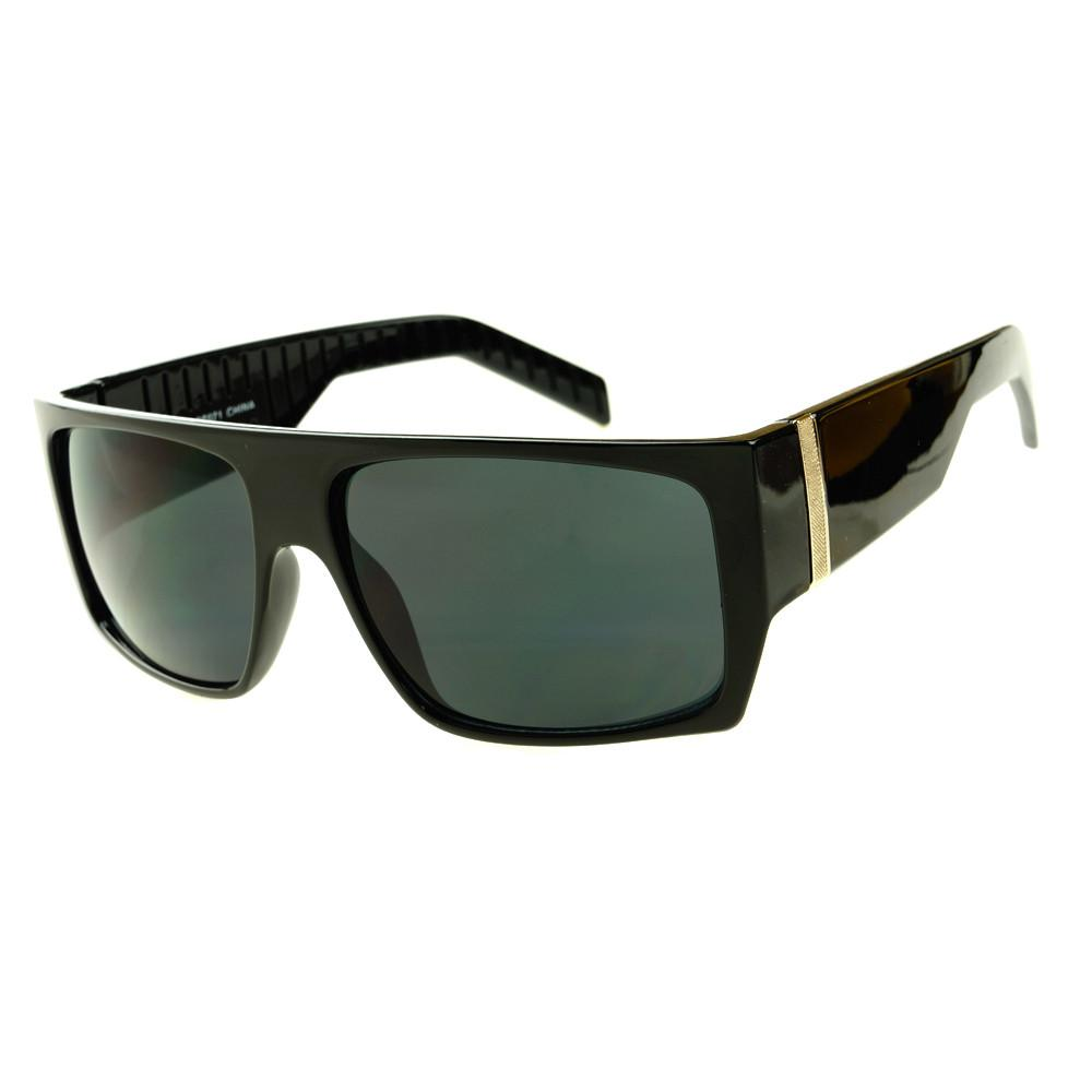 Sporty Style Dark Lens Mens Fashion Flat Top Sunglasses ...
