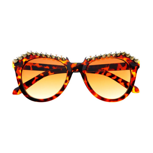 Metal Spikes Studs Punk Gothic Style Round Sunglasses R1100 - FREYRS - Beautifully designed, cheap sunglasses for men & women  - 1