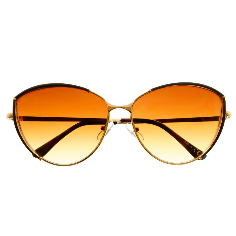 Large Fashion Designer Womens Metal Cat Eye Sunglasses C1290 - FREYRS - Beautifully designed, cheap sunglasses for men & women  - 7