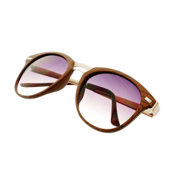 Fashion Designer Style Wood Like Round Sunglasses R2180 - FREYRS - Beautifully designed, cheap sunglasses for men & women  - 5