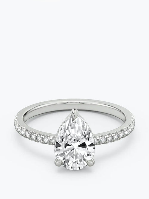 1ct D colour SI1 clarity Pear Cut w/ Pave Shoulders