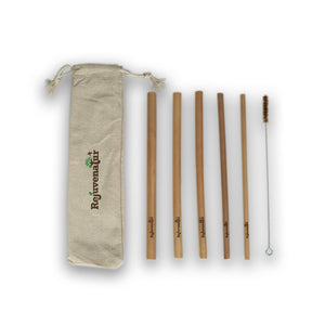 5 Reusable Bamboo Straws with Coconut Fiber Cleaner - Rejuvenatur