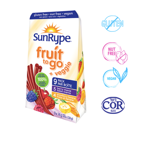 SunRype Fruit To Go + Veggie (Pack of 9)