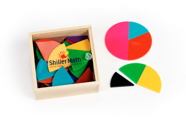 ShillerLearning Montessori fraction circles in hardwood box with slide lid