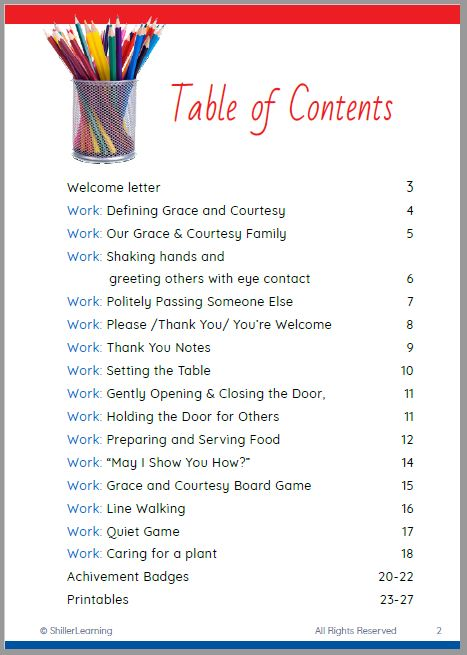 Grace and Courtesy Activity Pack