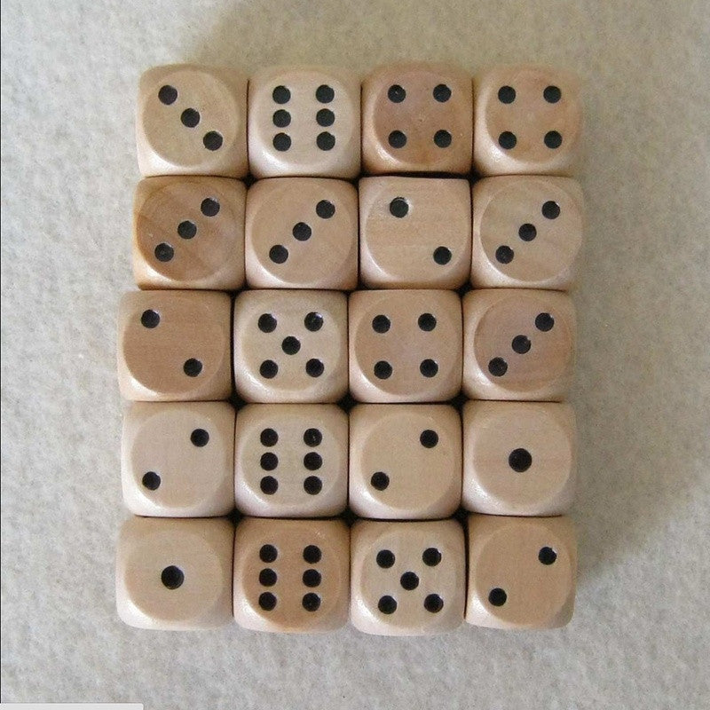 16mm Lot of 6 Wooden Dice