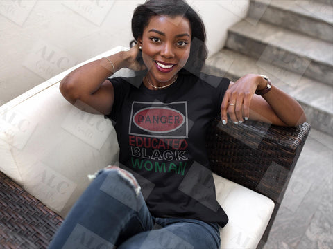 Danger Educated Black Woman Rhinestone Shirt