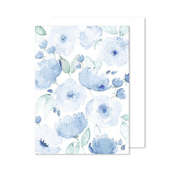 Encouragement Note Card - Blue Floral Watercolor