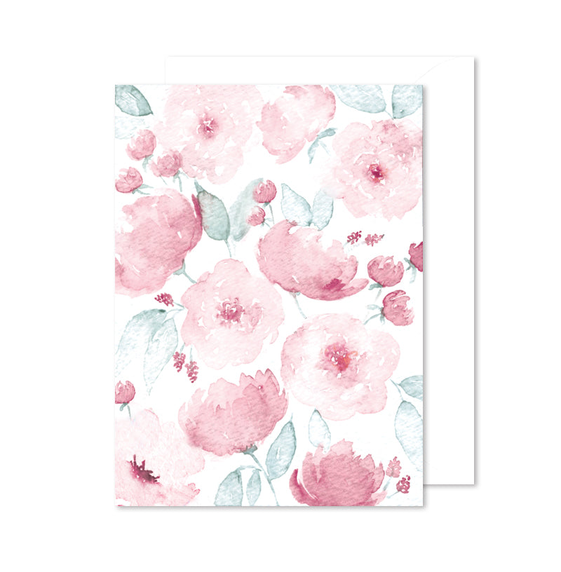 Encouragement Note Card - Pink Floral Watercolor
