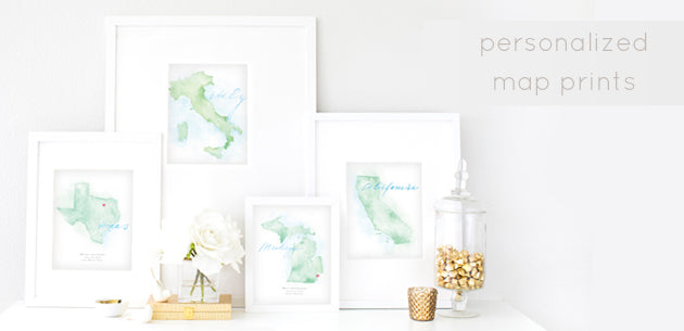 Personalized Maps - Destination Wedding and Honeymoon Maps