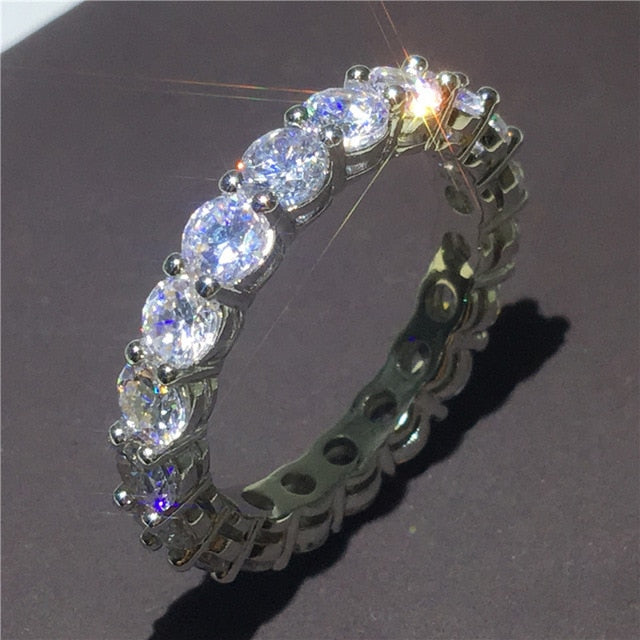 Handmade Eternity Promise Ring 925 Sterling Silver Aaaa Cz Engagement Jewlore