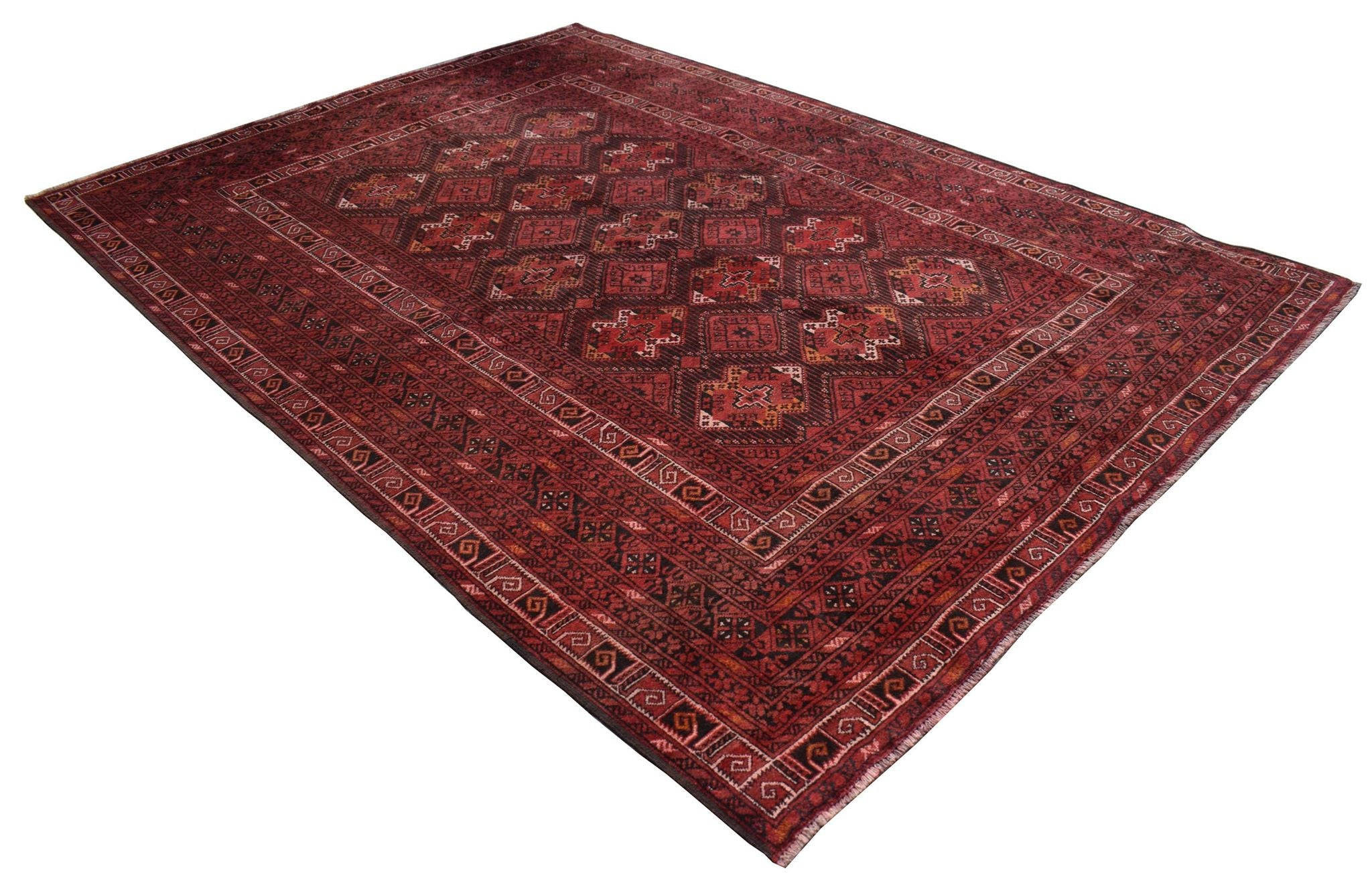 Authentic Antique Afghan Rug in Red