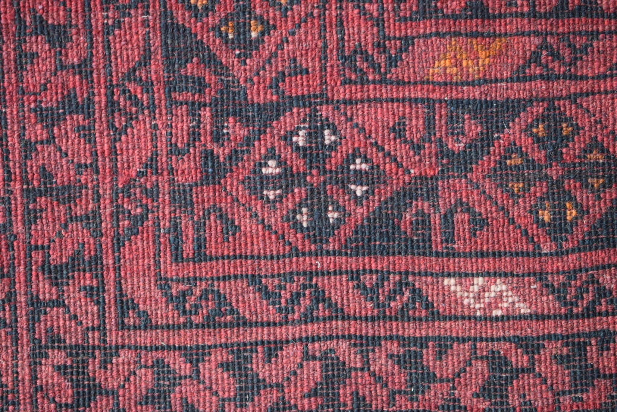 Authentic Vintage Afghan Rug in Red