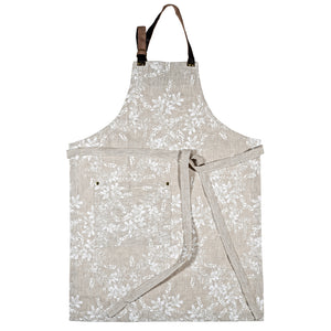 Natural Linen apron with white wattle pattern on off white basecloth, hand screen printed in Melbourne